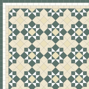 Star & Cross - £235    3 Line Border - £36/Linear m.  Dark Green, White, Ivory & Ontario