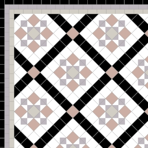 Thornton - £215 3 Line Border - £40/Linear m.  Anthracite, Pearl, Old Pink, Black & White
