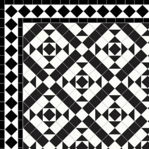 Clarendon-£180 2 Line Diamond Border - £49/Lin. m.  Black & White