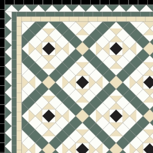 Clarendon-£185 3 Line Dogtooth Border - £61/Lin. m.  Black, White, Ivory & Dark Green