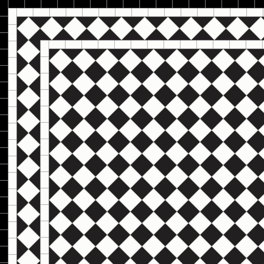 Chequer - White Diamond Border Three Lines