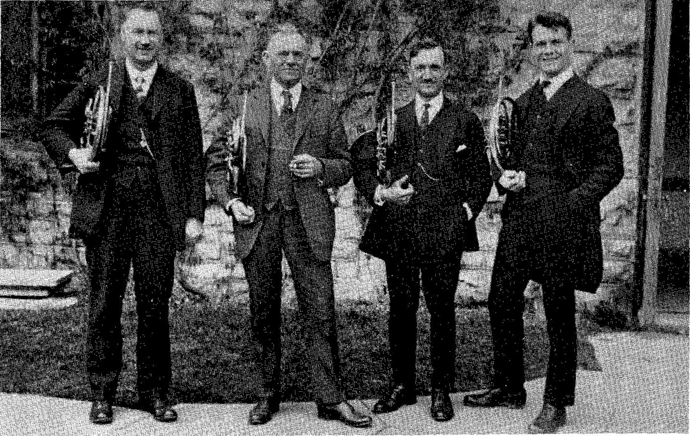 Chicago Symphony Orchestra Horn Section 1922-23 R. to L. - Wendell Hoss, Max Pottag, William Frank, Karl Albrecht
