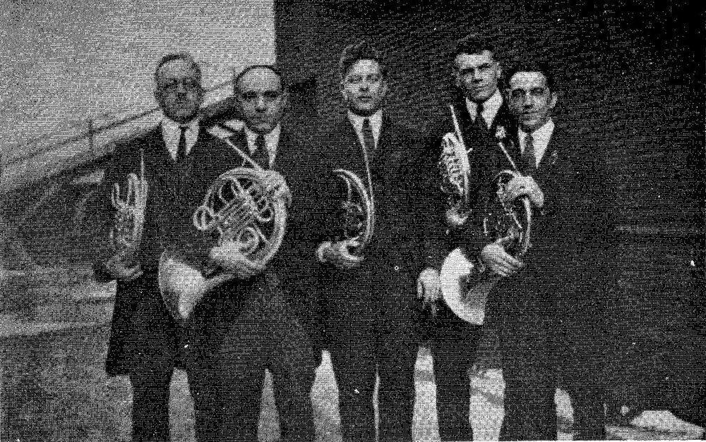 Cleveland Orchestra Horns, 1921-22 L. to R. Alphonse J. Pelletier, Emilio Stango, Robert H. Brown, Wendell Hoss, Frank de Polls.