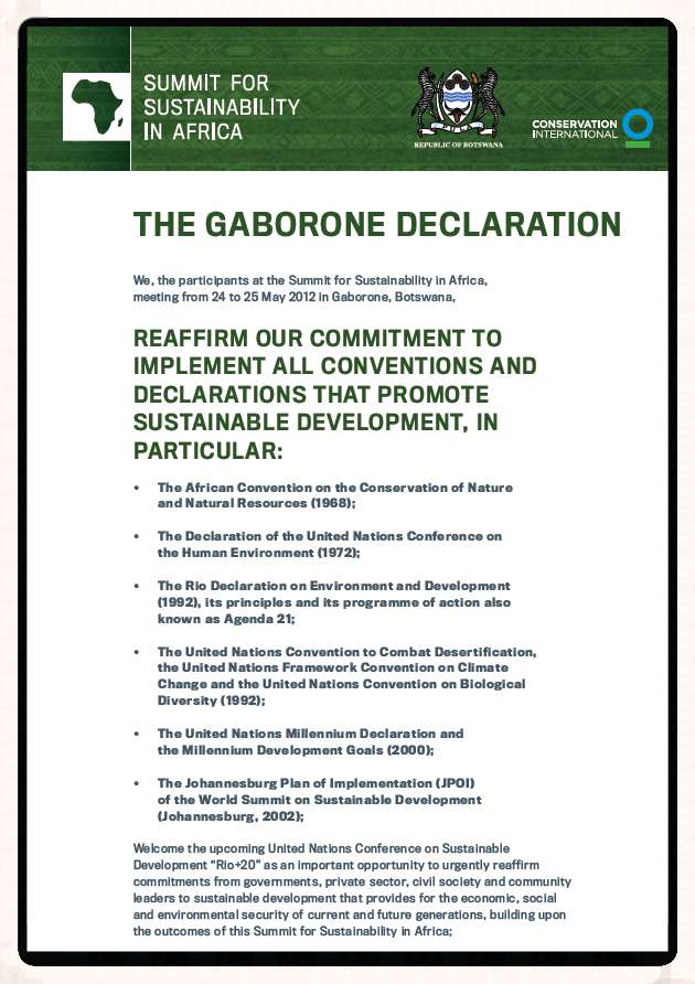Please click to Download the Gaborone Declaration (2012)
