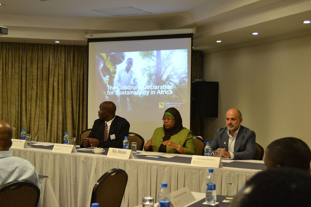 Botswana's Botshabelo Othutsitse, Acting Director DEA, Honorable Samia Suluhu Hassan, Minister of State, Vice President's Office Union Affairs, Tanzania and CI's Carlos Manuel Rodriguez, Vice President and Senior Advisor, Global Policy, lead a plenary at the Gaborone Declaration's Tanzania roadshow.