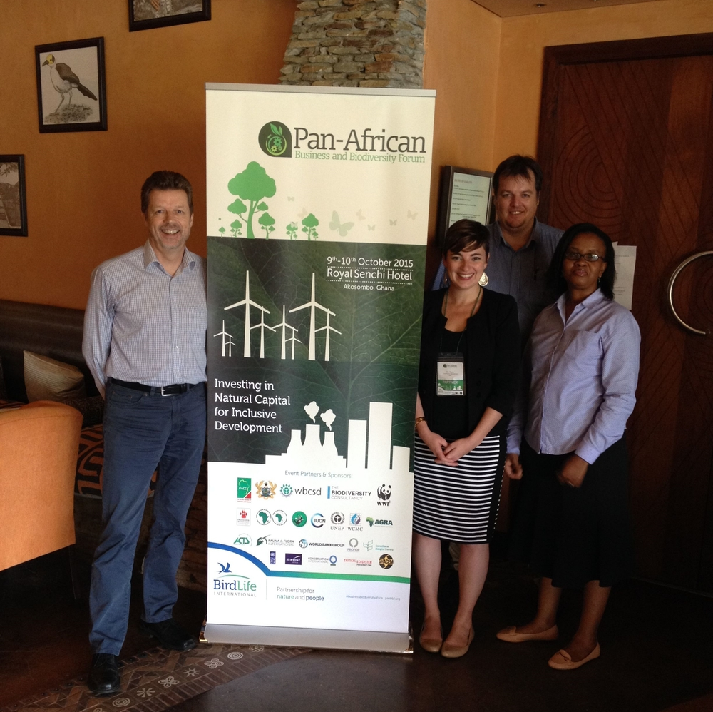 Gaborone Declaration Secretariat team and CI present the GDSA at the 2015 Pan African Business + Biodiversity Forum in Ghana.  From left to right – New Executive Secretary, Ruud Jansen, Kim Reuter of CI, Jaco Venter and Wame Hambira. (© Conservation International)