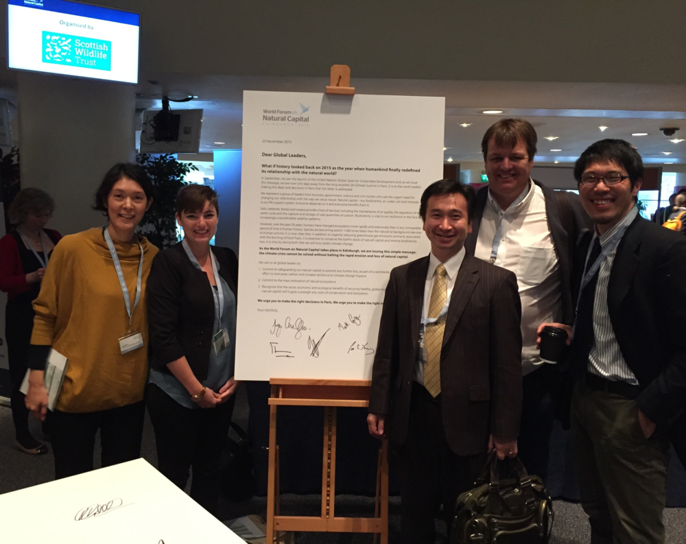 Conservation international staff (left to right):   Aya Uraguchi, dr. kim reuter,  YOJI NATORI, JACO VENTER and YASUSHI HIBI at the world forum on natural capital in scotland. photo courtesy of dr. kim reuter