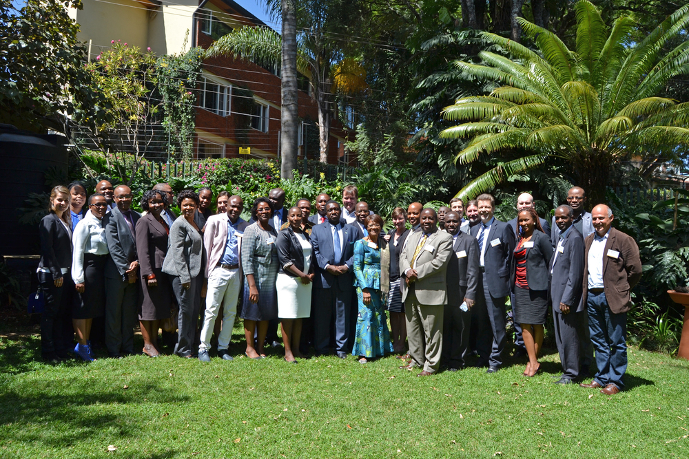 Attendees of the GDSA Focal Points meeting including: the GDSA Secretariat, member country delegations, and Conservation International staff, pose at the Fairview Hotel in Kenya on February 25. (CI Photo/Naomi taylor)