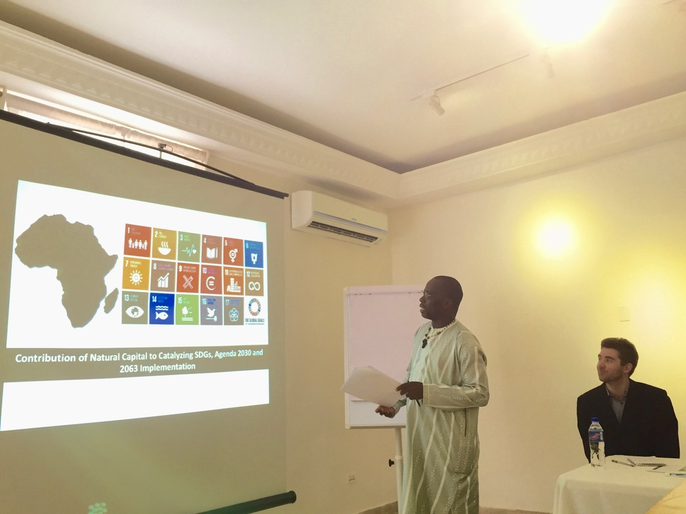 jeremiah sokan  of the liberian government presents during the liberia natural capital accounting workshop. photo by conservation international