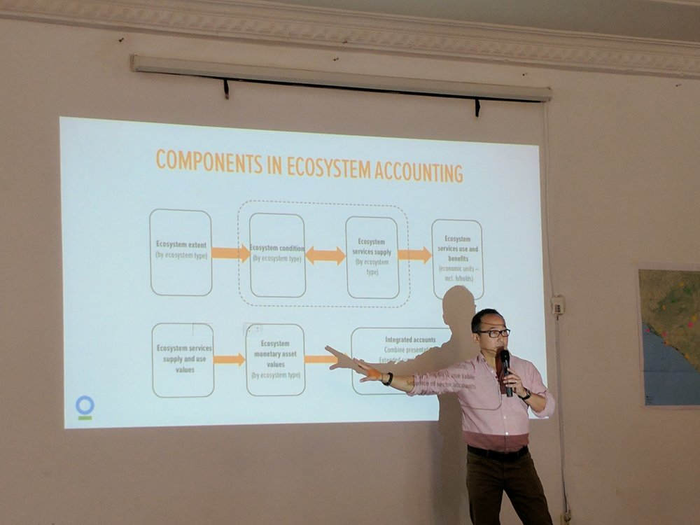 Daniel Juhn, Senior Director of Economics and Planning for the Moore Center for Science, Conservation International, presents during the workshop.