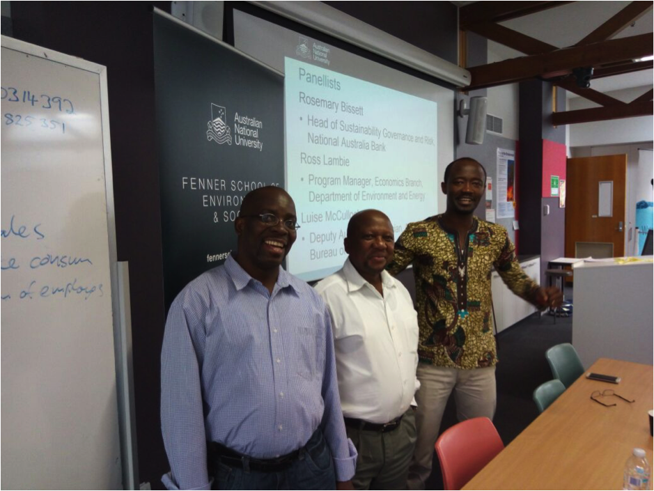 From left to right: Jeremiah, Disikalala and Kwame in the classroom. The course was held at the Australian National University in Canberra, Australia.