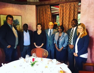 Staff members from the GDSA and Conservation International meeting with the Cabinet Secretary (Prof Judi Wakhungu) and the GDSA Focal Point for Kenya.