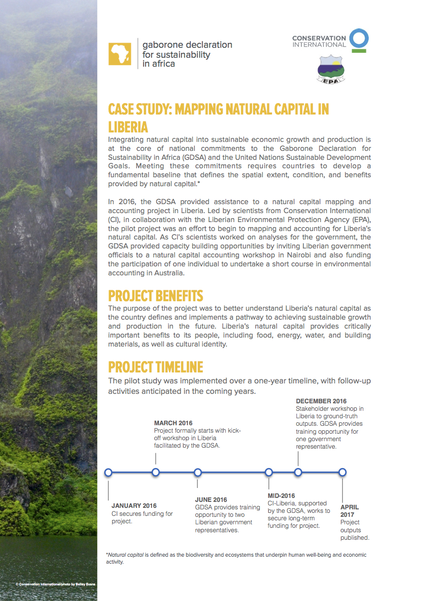Liberia Natural Capital Mapping and Accounting Case Study