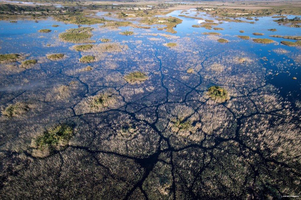 Aerial shot of the Vumbura Plains, Okavango Delta, Botswana. (© Jon McCormack)