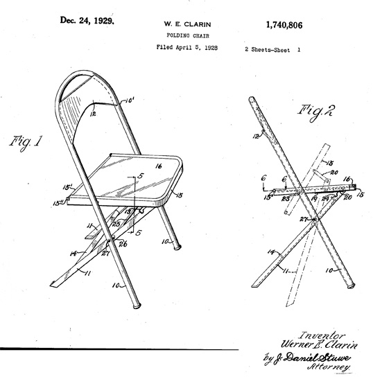 One of the original patents for folding chairs