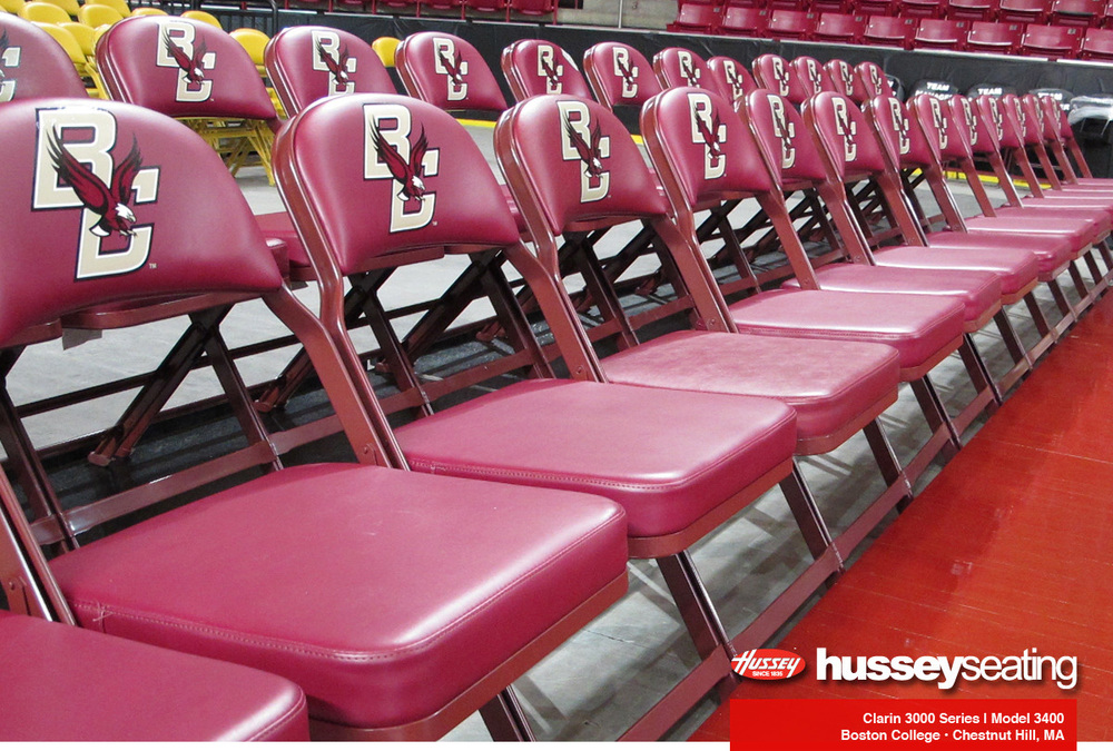 Clarin by Hussey Seating Model 3400 logo chairs for Boston College