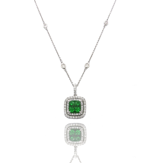 Glastonbury jewelers cts top rated jewelry store for diamond cushion tsavorite garnet with double diamond halo pendant aloadofball Gallery