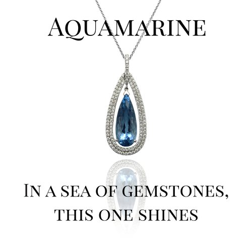 Pear-shaped Aquamarine and Diamond Halo Pendant