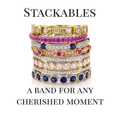 Stack of Yellow Gold, White Gold, Rose Gold, Diamond, Sapphire, and Ruby Rings