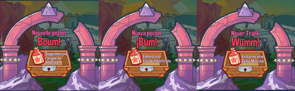 The Kaboom Potion translated into French, Spanish & German