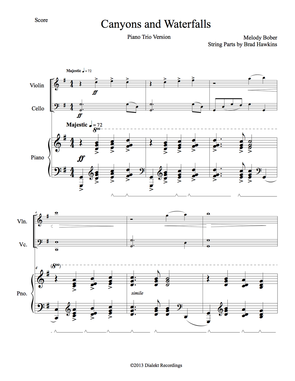 "First page of the Piano Trio Version of ""Canyons and Waterfalls"" by Melody Bober"