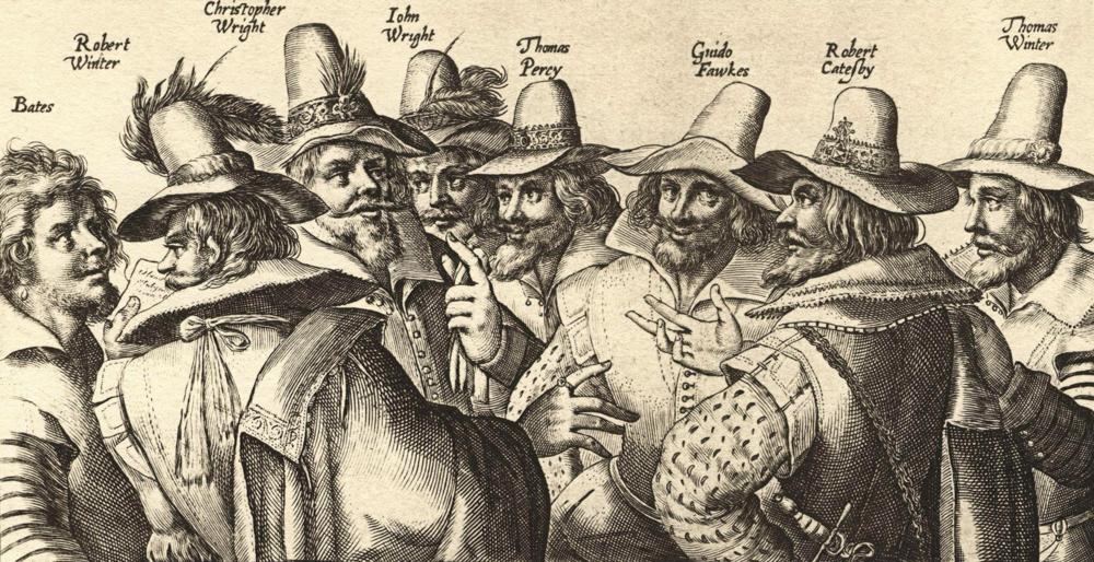 Guy Fawkes e os conspiradores da pólvora.