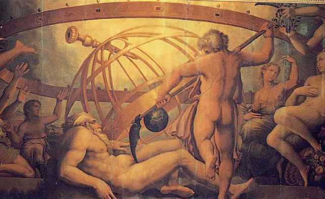 A Mutiliação de Urano por Saturno, por Giorgio Vasari