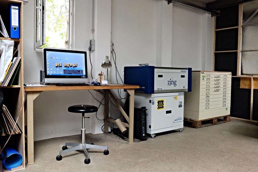 Der Lasercutter Arbeitsplatz in der Werke
