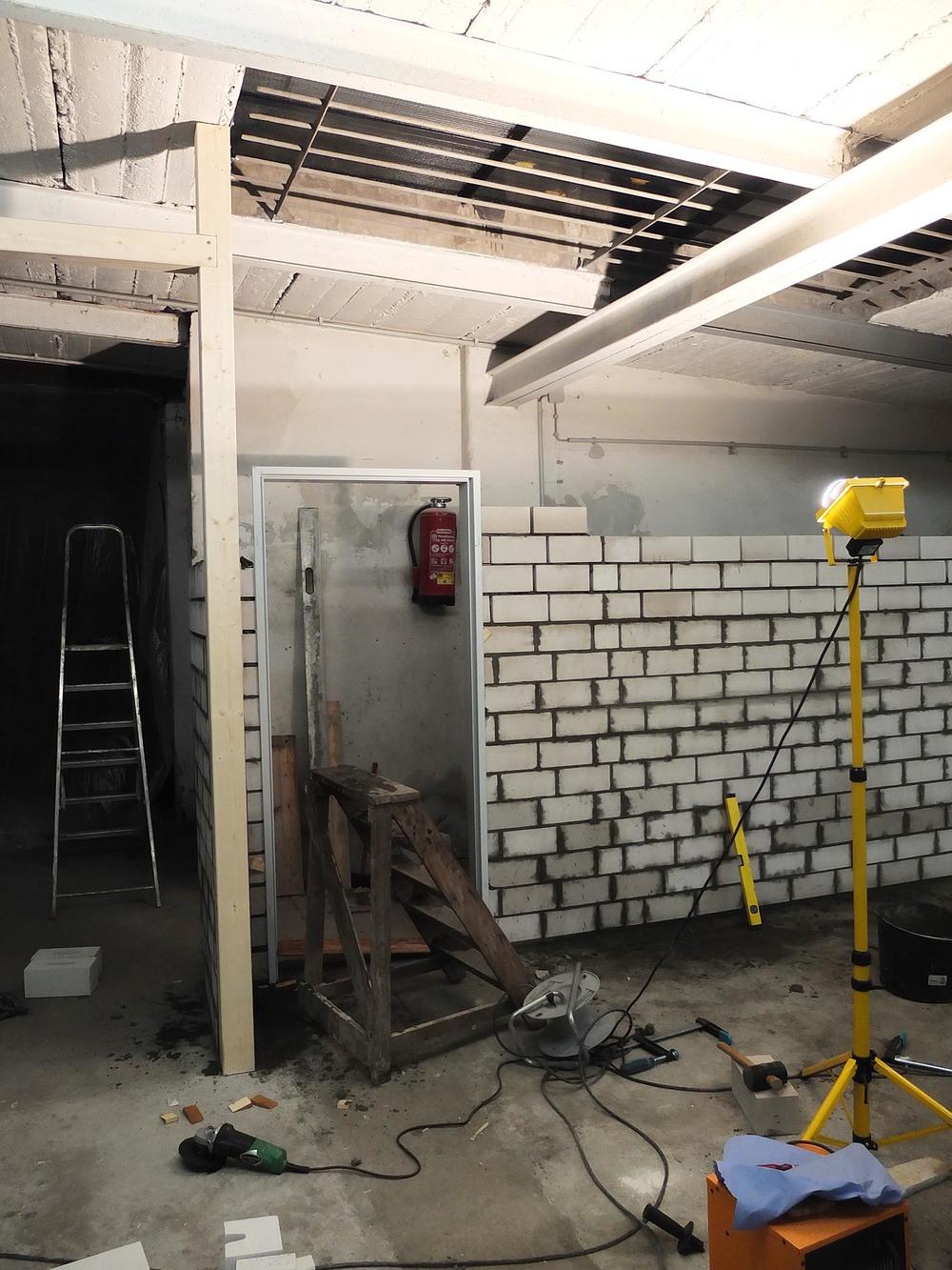 Mauer für Toilette