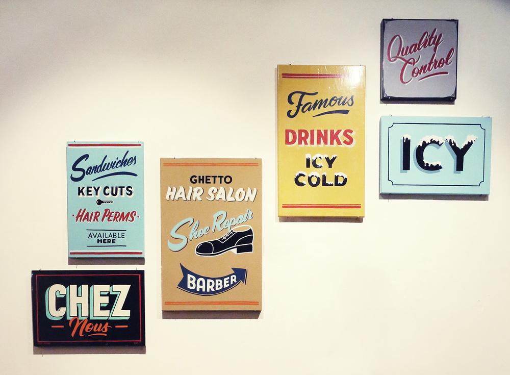 Sign-Painters do it best show, Adelaide 2013, enamel on metal canvases