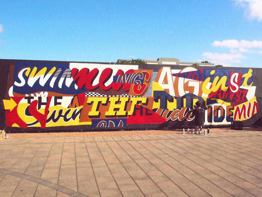 Wonderwalls festival mural, Port Adelaide 2015