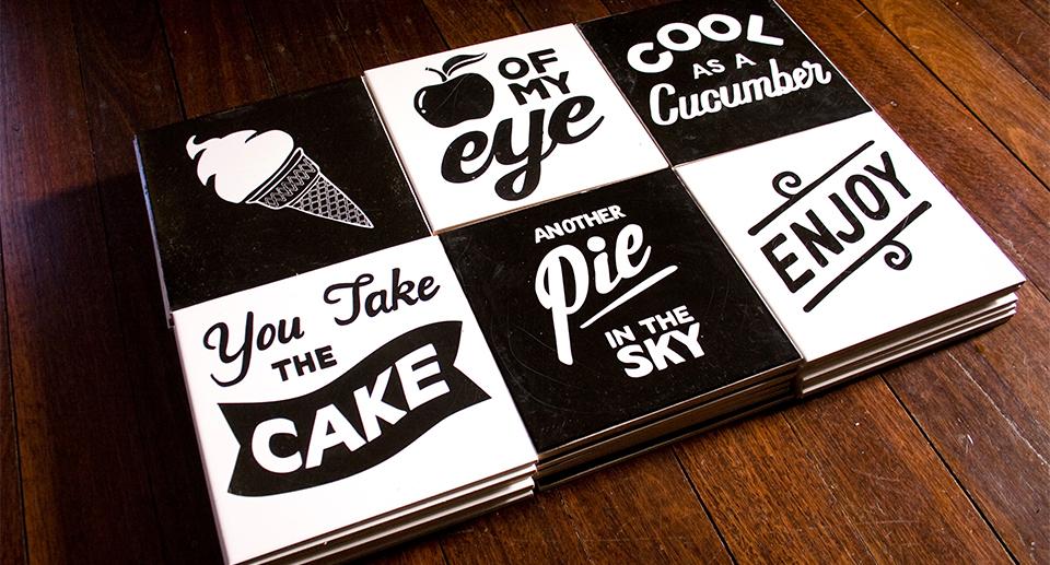 Enjoy Tasty Treats screen-printed tiles