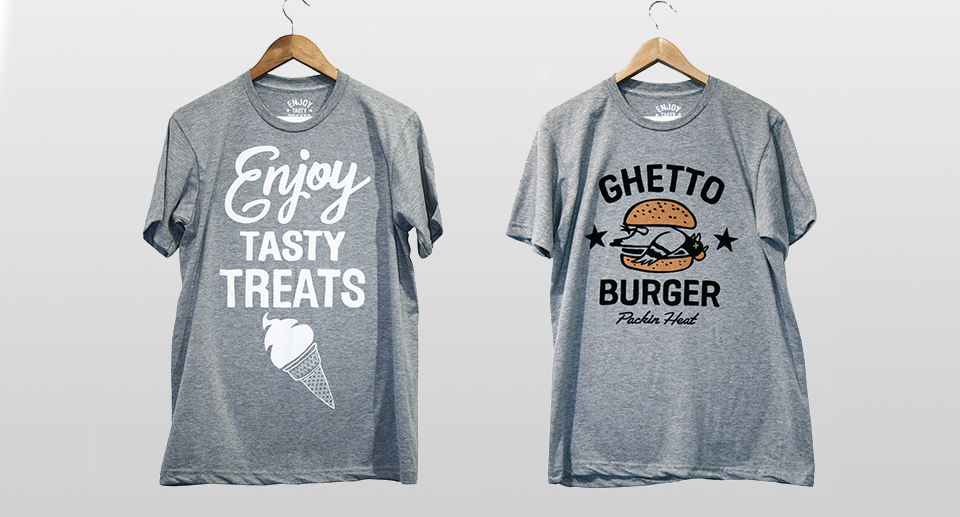 Enjoy Tasty Treats hand-screen printed tee shirts
