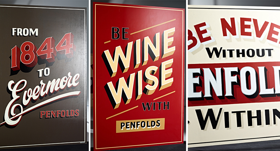 Hand-painted artwork developed for Penfolds advertising campaign