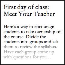 First day of class: Meet Your Teacher — Pedagogy Unbound