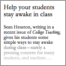 Pedagogy Unbound  How To Keep Yourself Awake