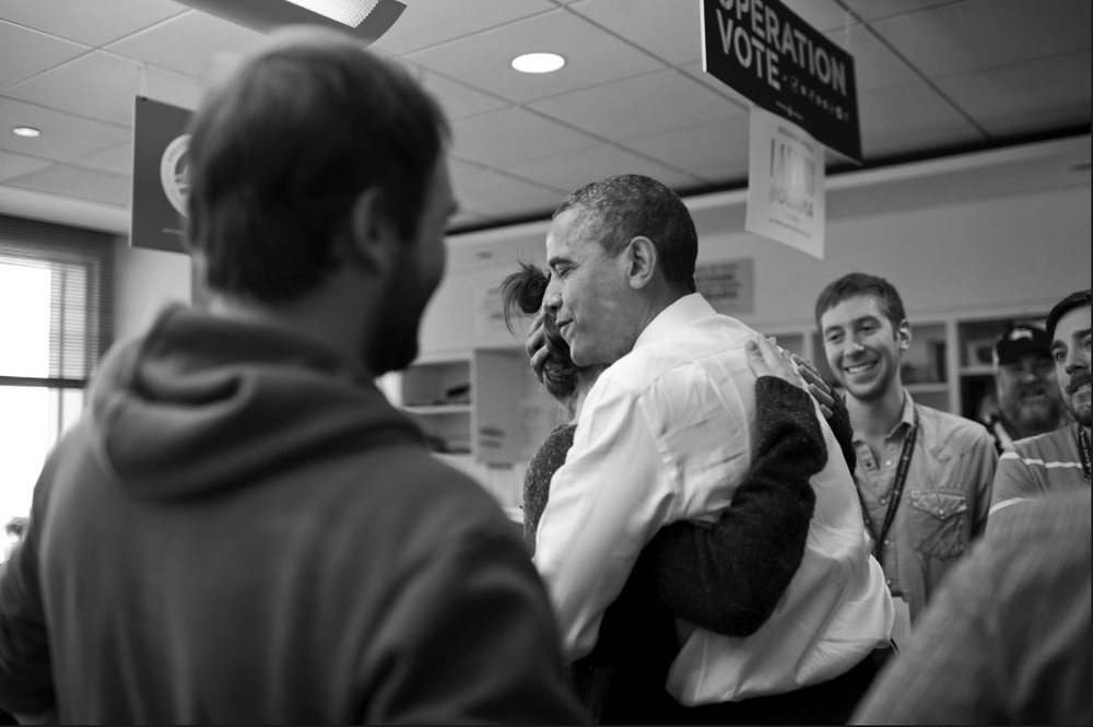 Getting a hug from Obama: The day after election night Obama stopped by to say thank you