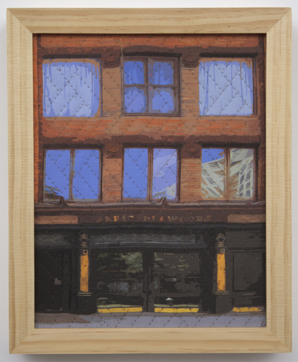 "500-4. study for new york windows 1328, 10""x8"", mixed media on silk, hand quilted, framed"