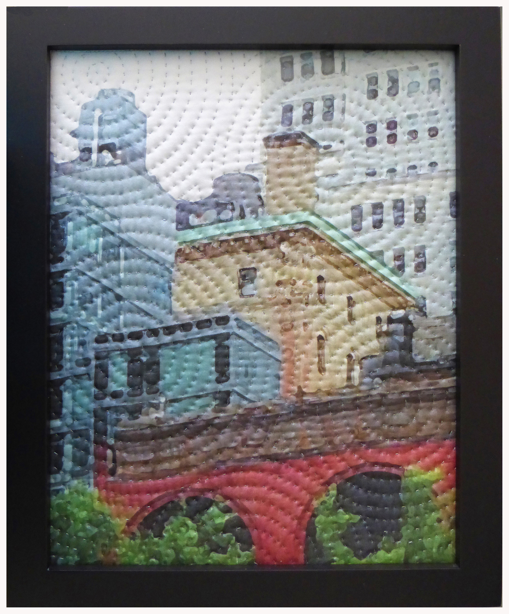 "500-11. study for new york windows 1422, 10""x8"", mixed media on silk, hand quilted, framed"