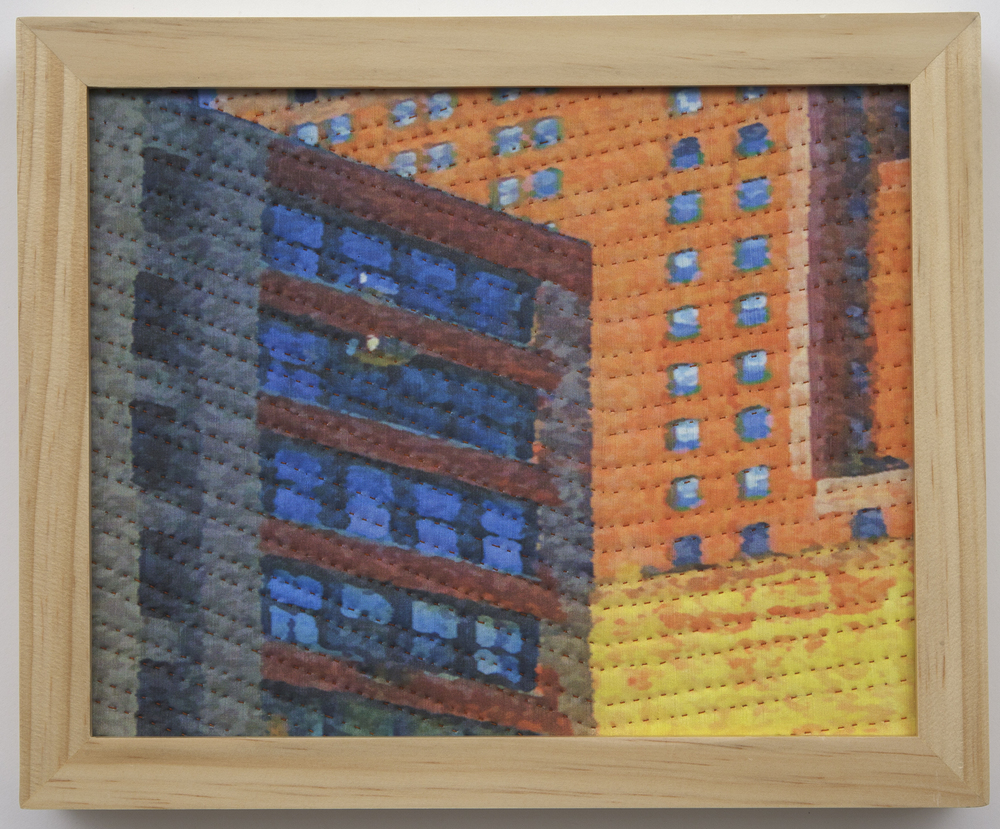 "500-15. study for new york windows 1341, 8""x10"", mixed media on silk, hand quilted, framed"