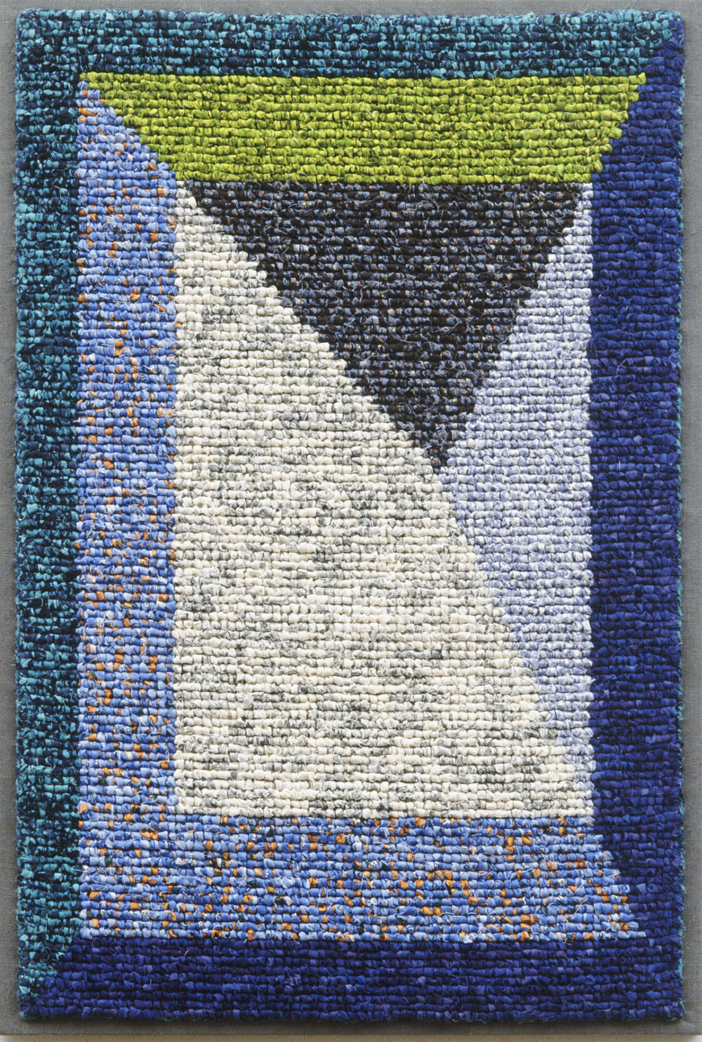 "1500-8. Vanishing Point 4, 31""x21"", hand hooked cottons & linens on mesh canvas, mounted on linen, canvas stretchers"