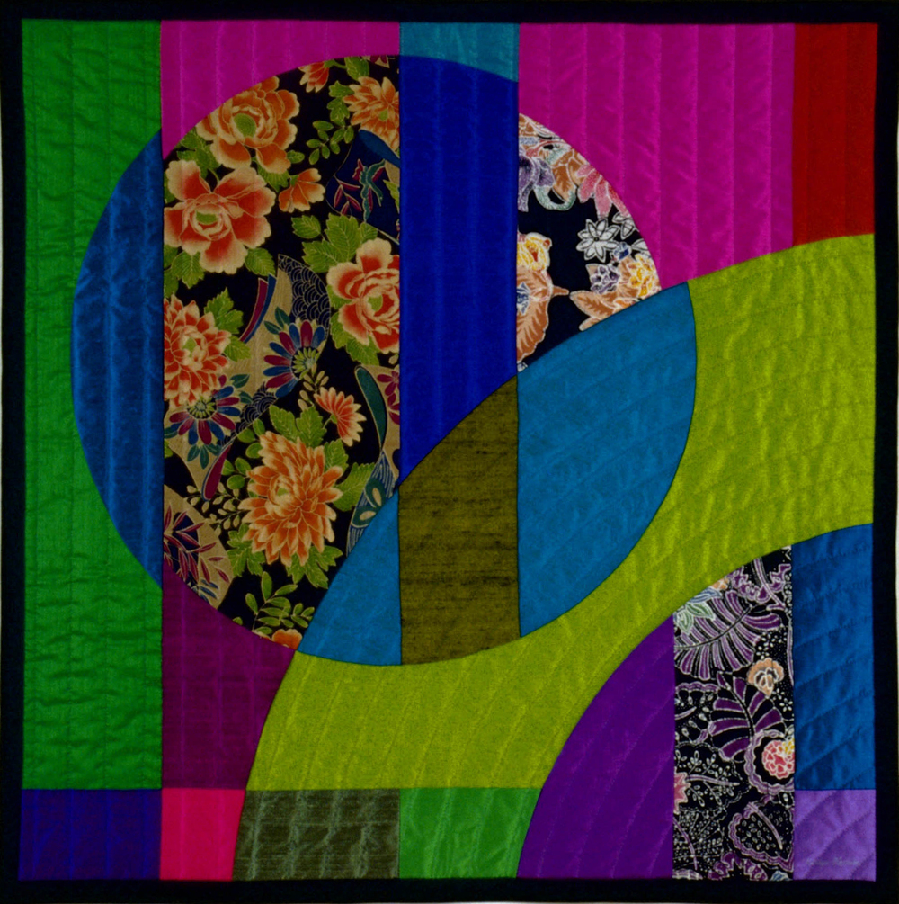 "2000-11. Etude 3, 38""x38"", pieced silks & cottons, hand quilted"
