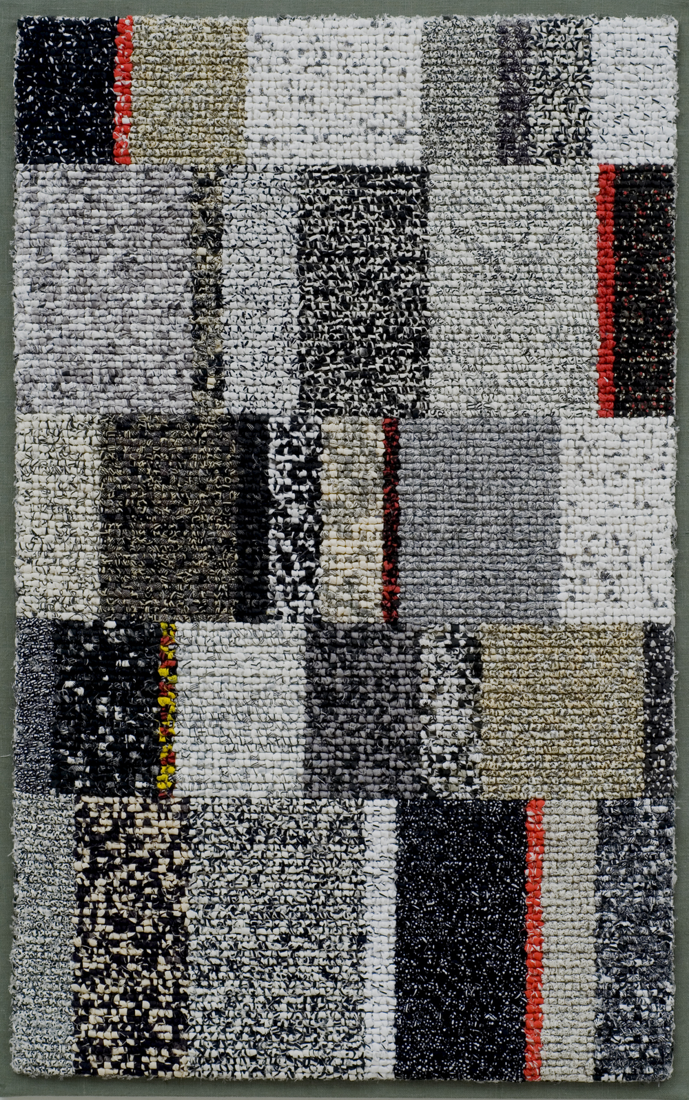 "2000-17. Strata,  38""x24""x1"", hand hooked cotton & linen on mesh canvas, mounted on linen, canvas stretchers"