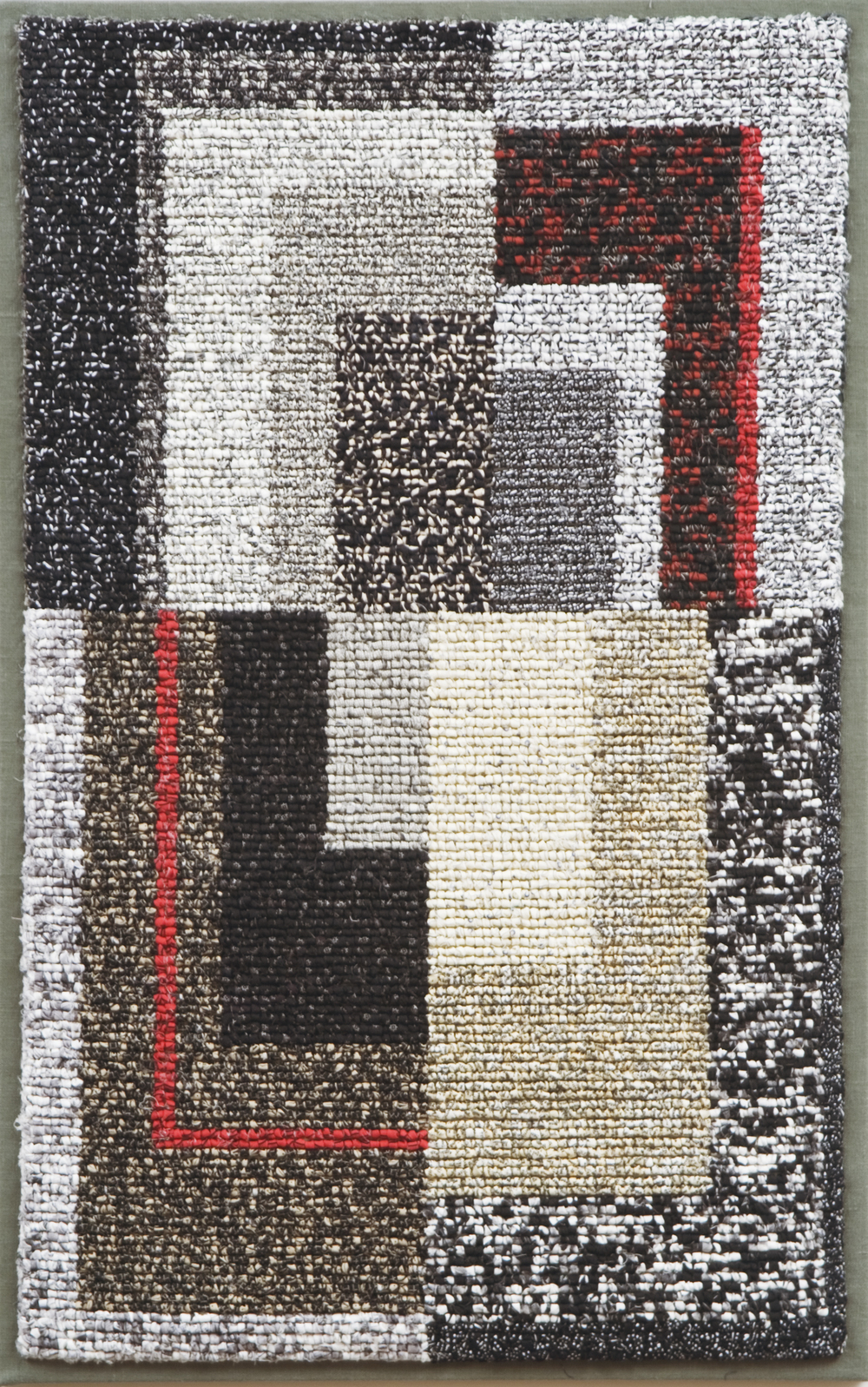 "2000-15. Quartet, 38""x24""x1"", hand hooked cotton & linen on mesh canvas, mounted on linen, canvas stretchers"
