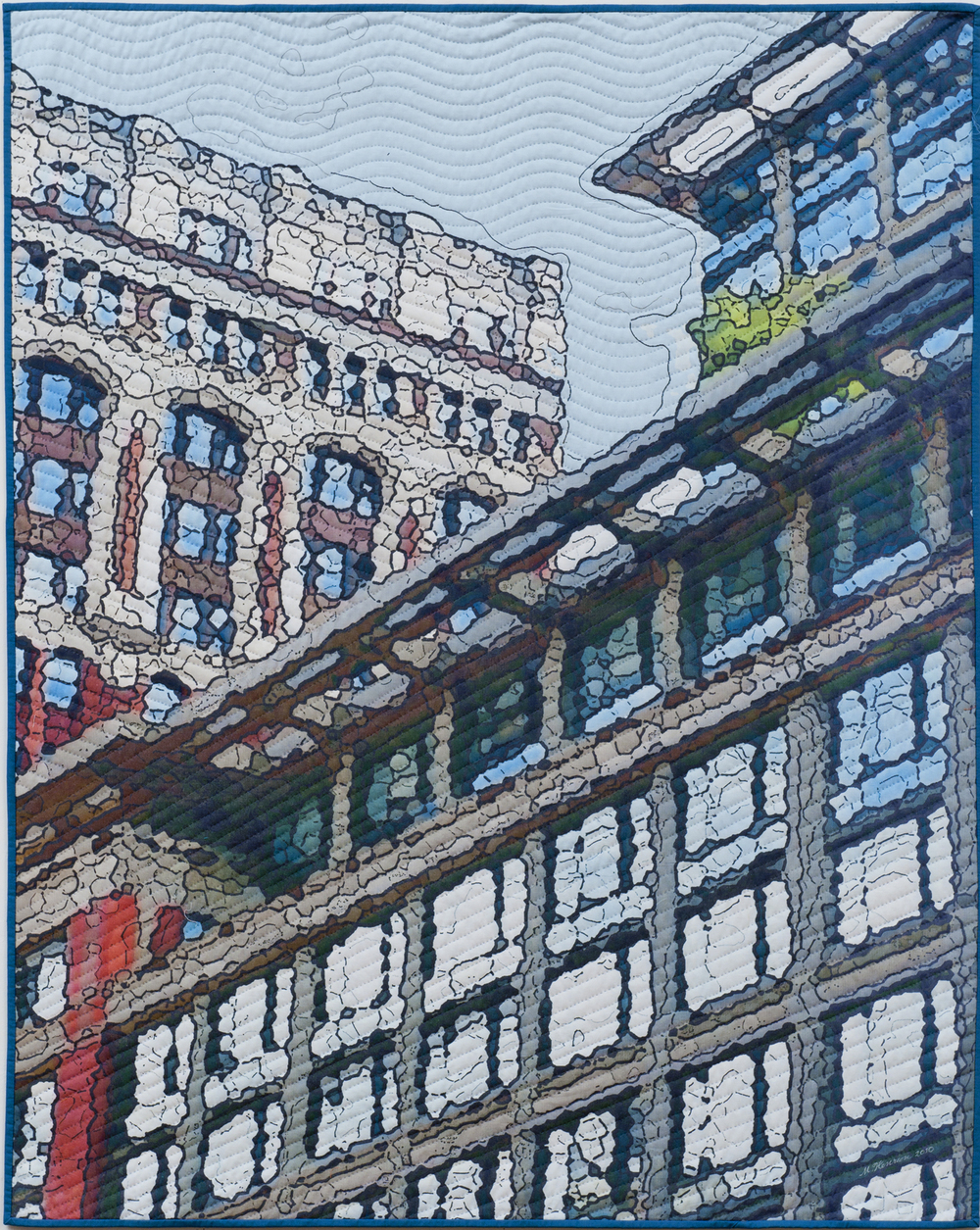 "2500-2. Soft City; Broadway Windows, 50""x40"", mixed media on cotton, hand quilted"