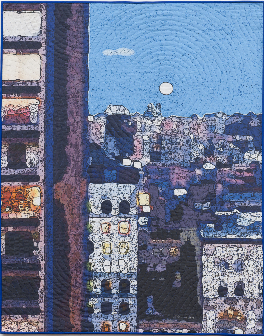 "2500-6. Soft City; Twilight,  50""x40"", mixed media on cotton, hand quilted"
