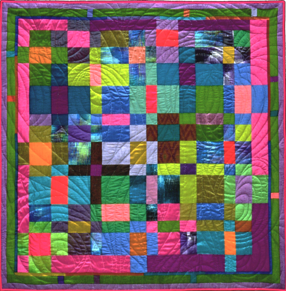 "3000-2. In Just-Spring, 50""x50"",  pieced  silks, hand quilted"