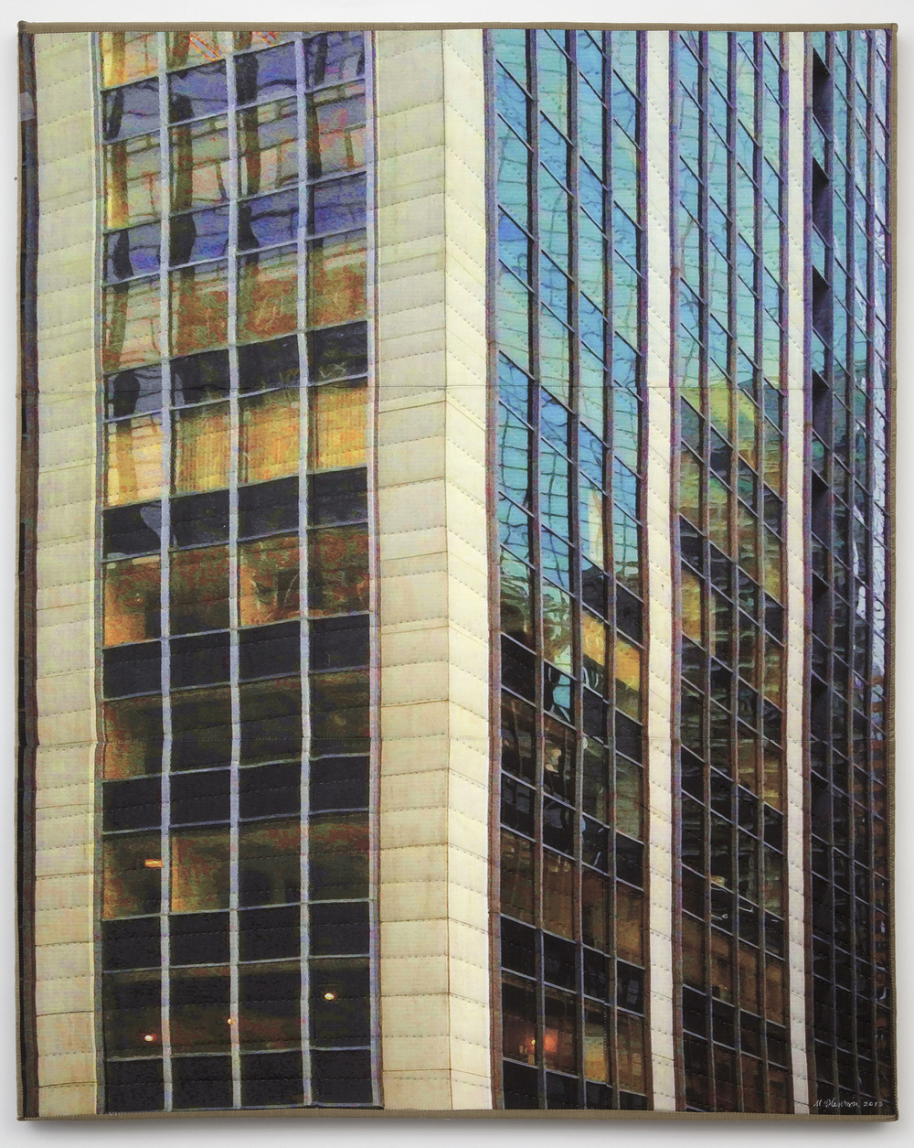 "2000-4. New York Windows 1340, 30""x24""x1"", mixed media on silk, pieced, hand quilted, gallery-wrapped stretched canvas"