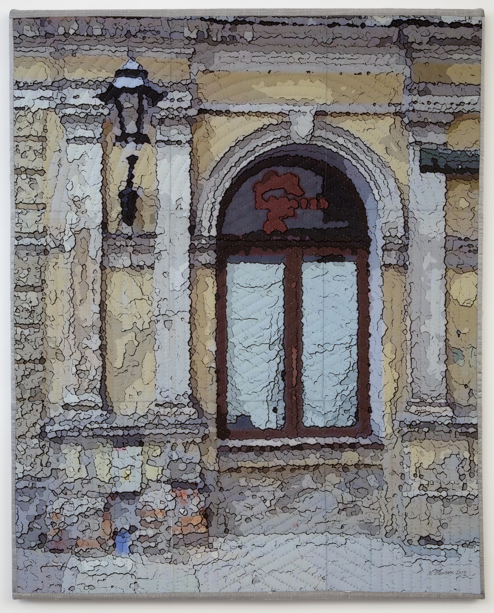 "2000-7. Krakow Windows 1339, 30""x24""x1"", mixed media on silk, pieced, hand quilted, gallery-wrapped stretched canvas"