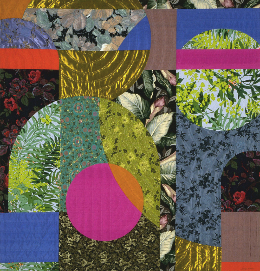 "4000-2. NightThoughts 2, 53""x51"", pieced silks and cottons, hand quilted"